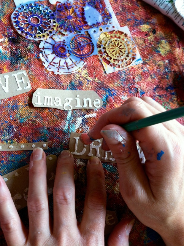 Adding-glitter-paint-to-words